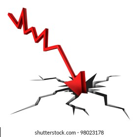 Tough times in business and financial bankruptcy due to economic conditions that cause markets to fall and prices to plummet as a red arrow crashing to a cracked ground on white background.