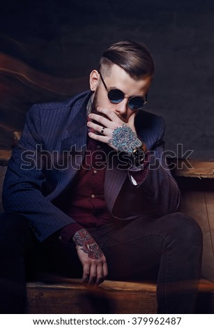 2ef4cdeaea2ed Toughtful Man Sunglasses Tattoo On His Stock Photo (Edit Now ...
