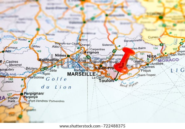 Toulon Pinned On Map France Stock Photo (Edit Now) 722488375