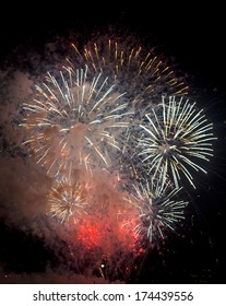 Toulon (Var, Provence-Alpes-Cote d'Azur, France): traditional fireworks at july 14th