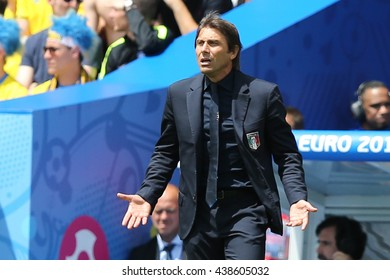 TOULOSE- FRANCE,  JUNE 2016 :  Antonio Conte  in action during football match  of Euro 2016  in France between ITALY VS SWEDEN at the Stade Municipal on June 17, 2016 in Toulose