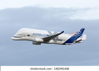 Toulouse / France - 04.17.2019. Blagnac Airport, Airbus Plant. Modern cargo plane Airbus A330-743L Beluga XL in flight.