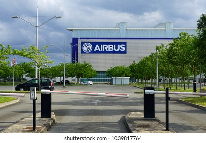 TOULOUSE, FRANCE -12 MAY 2017- View of the Airbus logo at the Airbus factory at the Toulouse Blagnac international airport (TLS). Airbus is a European consortium aeronautics manufacturer.