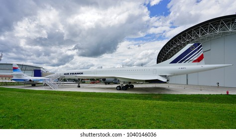 TOULOUSE, FRANCE -12 MAY 2017- View of a vintage Concorde supersonic airplane from Air France at the Aeroscopia museum next to the Airbus factory at the Toulouse Blagnac international airport (TLS).