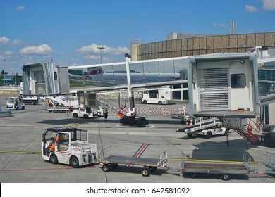 TOULOUSE, FRANCE -12 MAY 2017- View of the Toulouse Blagnac international airport (TLS). Owned partly by the French government and a Chinese consortium, TLS is located next to the Airbus factory.
