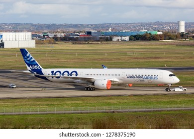 Toulouse / France -  12.17.2018. Blagnac Airport, Airbus Plant. Prototype of modern passenger aircraft Airbus A350-1000 XWB.