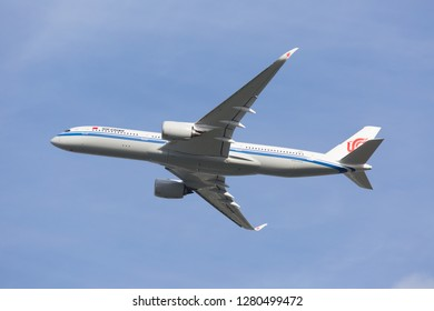 Toulouse / France - 12.17.2018. Blagnac Airport, Airbus Plant. Modern passenger aircraft Airbus A350 XWB of Air China Airlines in flight.