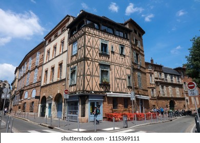 TOULOUSE ,FRANCE- 14 Jun 2018: Typical old building of the city of Toulouse, in the south of France, Toulouse is also called the pink city