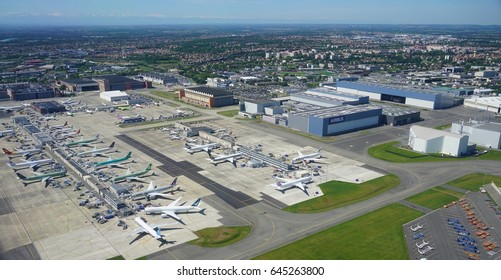 TOULOUSE, FRANCE -16 MAY 2017- Aerial view of the Airbus factory located next to the Toulouse Blagnac international airport (TLS). Airbus manufactures the jumbo airplane A380 and the new A350-1000.
