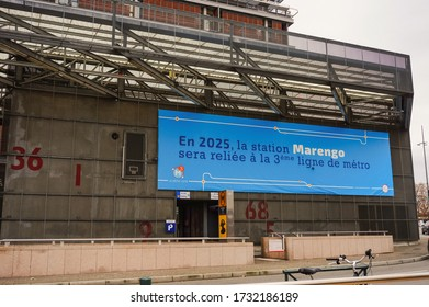 Toulouse, France - Dec. 2019 - Underground station of Marengo-SNCF on the Line A of Tisséo metro network, in connection with Matabiau train station and soon linked to Toulouse Aerospace Express