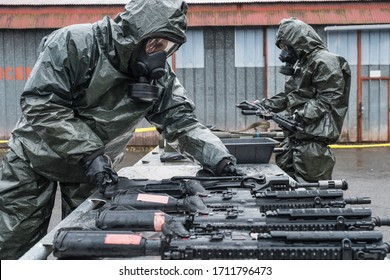 TOULOUSE, FRANCE - FEBRUARY 11: simulation of a Nuclear Biological and Chemical Warfare (Nbc) during the training of French paratroopers in south of France before going to warin Africa, for Barkhane m