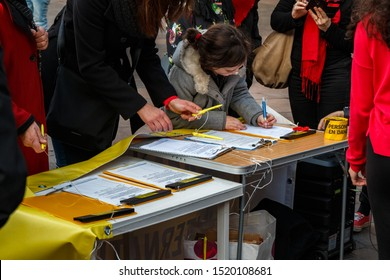 Toulouse, FRANCE - February 14, 2017: Amnesty International demonstration on Capitole Square against violence against women