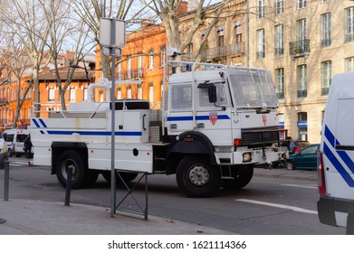 Toulouse, France -Jan. 2020- Riot truck of the French National Police, equipped with a water cannon for crowd control, during protests against Emmanuel Macron's pension reform in Strasbourg Boulevard