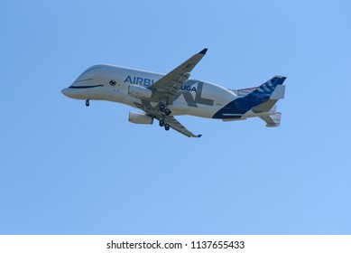 TOULOUSE, France, July 19, 2018: Airbus Beluga XL,the Airbus 'whale is the sky' fly from Toulouse on its first flight (maiden flight) at Aéroport Toulouse-Blagnac