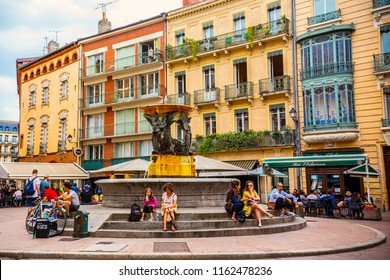 TOULOUSE, FRANCE - JULY 2018: Beautiful Trinity fountain in Toulouse downtown, France
