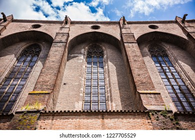 TOULOUSE, FRANCE - JULY 2018: Beautiful exterior view of the Dominican monastery Couvent des Jacobins in Toulouse, France