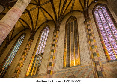 TOULOUSE, FRANCE - JULY 2018: Beautiful interior of the Dominican monastery Couvent des Jacobins in Toulouse, France