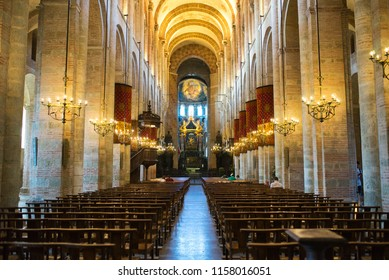 TOULOUSE, FRANCE - JULY, 2018: The interior of Basilica of Saint-Sernin. Basilique Saint-Sernin de Toulouse is the largest Romanesque church in Europe. Originally built through the 11th to 13th cent.