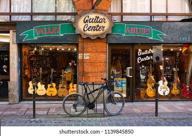 TOULOUSE, FRANCE - JULY, 2018: Music shop 'Guitar center' at Toulouse downtown