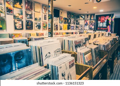 TOULOUSE, FRANCE - July 2018: Old vintage vinyl shop in Toulouse, France. Collection of LP vinyl records for sale in music shop in Toulouse