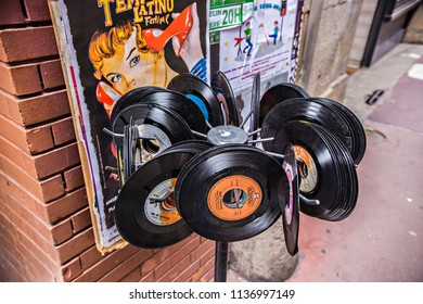 TOULOUSE, FRANCE - July 2018: Old vintage vinyl shop in Toulouse, France. LP vinyl shop entrance decoration in music shop in Toulouse