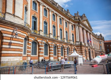 Toulouse, France - July 2018: Place du Capitole in the center of Toulouse old town La Ville Rose, France