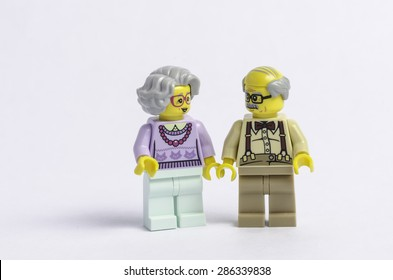 TOULOUSE, FRANCE - JUNE 10: Lego figures of an elderly couple in Toulouse, France on 10 June, 2015