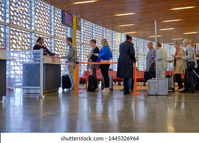 Toulouse, France, June 2019.  Passengers in line having ID checked as they are boarding an Easyjet flight