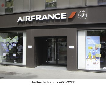 TOULOUSE, FRANCE - JUNE 25, 2017: Air France Office Windows ans Signboard on the Street of Toulouse