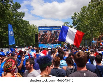 Toulouse, France - June 26, 2016: French fans drink beer and cheer on their team beat Ireland 2-1.