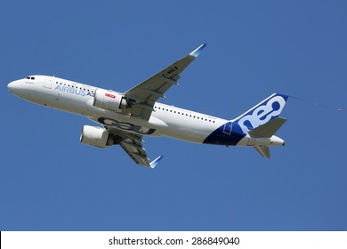TOULOUSE, FRANCE - MAY 27:  An Airbus A320neo taking off on May 27, 2015 in Toulouse. The Airbus A320neo is the new short- to medium-range jet developed by the European aircraft manufacturer Airbus.