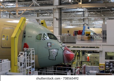 TOULOUSE, FRANCE – OCTOBER 14 2016: Unpainted Airbus A350 aircraft under construction at the Airbus factory in Toulouse, France.