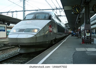 TOULOUSE, FRANCE - OCTOBER 29, 2006: French High Speed train TGV Atlantique ready for departure on Toulouse Matabiau station platform. It connects Paris with Southwestern France