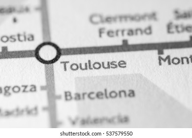 Toulouse, France on a geographical map.
