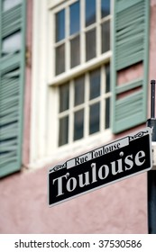 Toulouse street sign in French Quarter, New Orleans