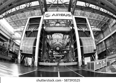 Toulouse-FRANCE: 25 JUN 14 : A black and white wide angle image of the biggest passenger aircraft, Airbus A380-800 (Emirates), which is being manufactured in a final assembly line at Blagnac Airport.