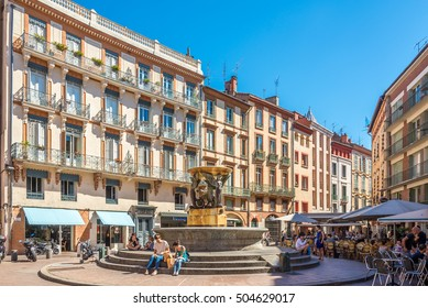 TOULOUSE,FRANCE - AUGUST 30,2016 - In the place of Trinite in Toulouse. Toulouse is the capital city of the southwestern French department of Haute-Garonne, as well as of the Occitanie region.