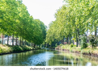 Toulouse,France - June.30.2018:Summer look on Canal du Midi canal in Toulouse, southern Franc