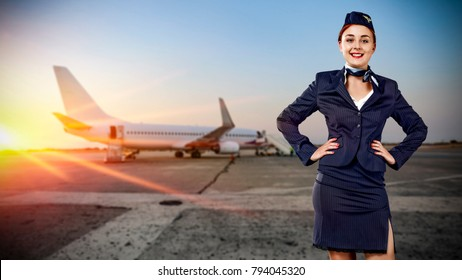 Toung slim stewardess and travel time