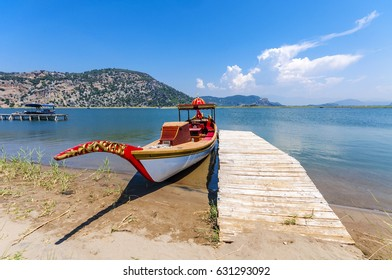 Tour boats are carrying tourists to Iztuzu Beach. Iztuzu Beach is populer tourist destination in The Turkey.