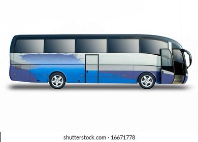 Tour bus with door open isolated