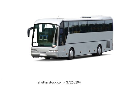 Tour bus. Isolated on white background with clipping path.