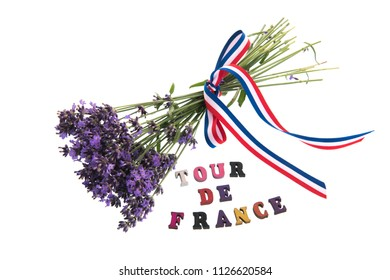Tour de France with bouquet Lavender flowers isolated over white background