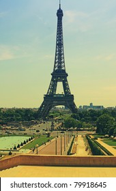 Tour Eiffel Paris France with a retro effect photo style applied. Evocative of the 1960's era.