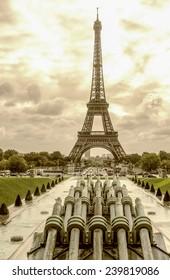 Tour Eiffel, Paris. Wonderful view of famous Tower from Trocadero Gardens.