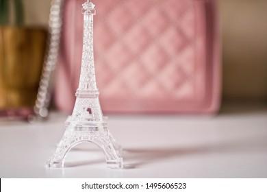 TOUR EIFFEL plastic model of the Eiffel Tower - detail of an apartment in Paris, France. Travel concept.