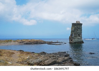 Tour Genoise Santa Maria della Chiapella on the north coast of Corsica. August 14, 2020. Editorial photo