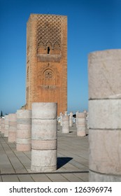 Tour Hassan tower in the square with stone columns. Rabat, Morocco