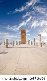Tour Hassan tower in the square with stone columns