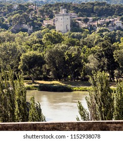 Tour Philippe Le Bel. View over the Rhone at Avignon. Vaucluse, Provence, France, Europe.